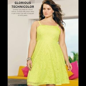 ADDITION ELLE NeonYellow Fit Flare Dress Plus 2XL